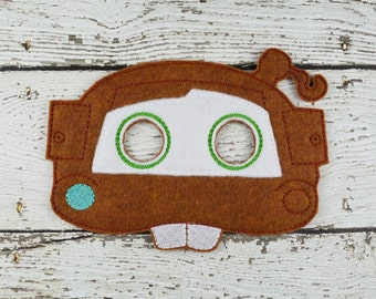 Tow Truck Mask Children's Felt Mask  - Costume - Theater - Dress Up - Halloween - Face Mask - Pretend Play - Party Favor