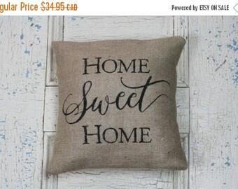 25% OFF SALE Home Sweet Home, Burlap Pillow, Pillow Cover, Rustic Decor, Decorative Pillow