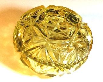 Czech Cut Glass Powder Jar Amber Jewelry Box Signed Czechoslovakia