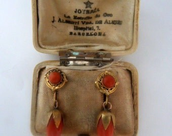 Coral , gold, spanish, earrings