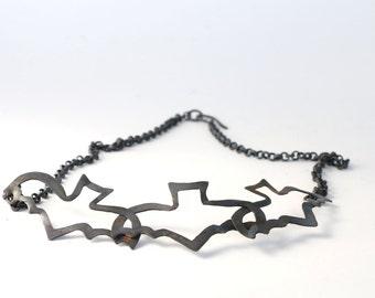 Oxidized Copper Bat Necklace