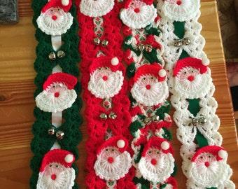 Vintage Crocheted Santa Claus Wall Hangings