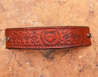 Hand tooled leather bracelet. Lonewolf.