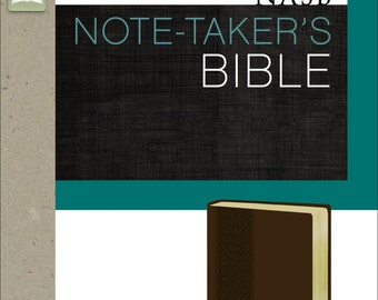 NASB Note-Taker's Bible, Imitation Leather, Brown, Red Letter Edition; Illustrated Faith - Bible Journaling Supplies