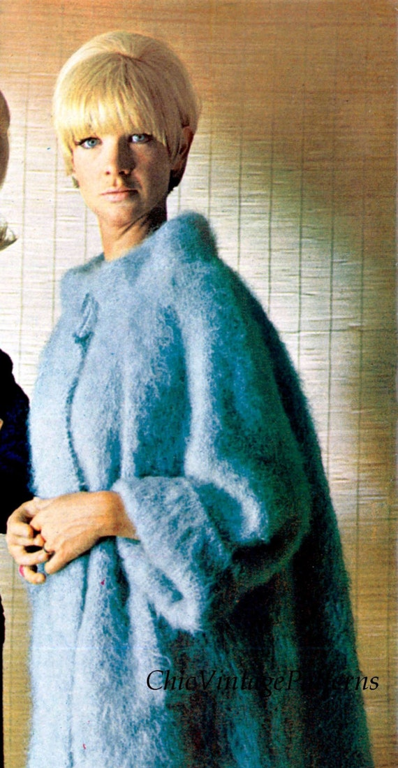 Knitting Pattern Mohair Jacket : Knitted Coat ... Ladies Mohair Coat ... Stylish Warm and Cosy