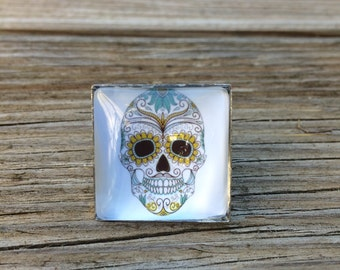 Square cabochon ring crane Mexican