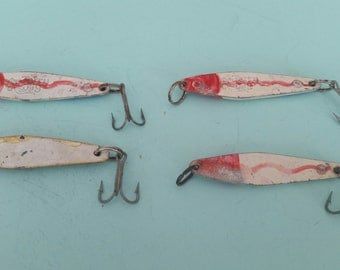 Lot of 4 Vintage So. Calif. Top Water Jerry Jig Salt Water Lures Free Shipping