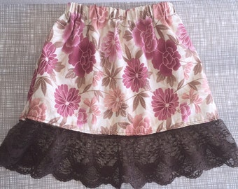 Pink floral with brown lace
