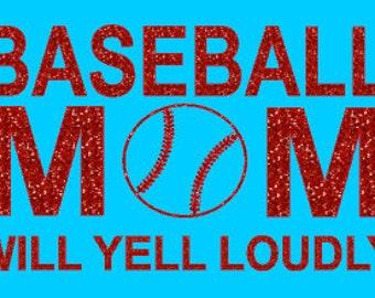 Glitter Baseball Mom Heat Transfer, Baseball Mom glitter iron-on