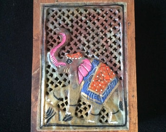 Indian Wood Box Hand-Carved Stone Panel with Elephant