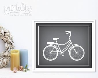 Vintage Bicycle Art, Bike Wall Art, Gray Bicycle Print, Printable Retro Bike Art Print, Vintage Bike Instant Download, Bike Print Home Decor