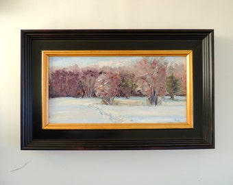 Stenger Farm After the Snow, Waterford, Connecticut Original Plein Air Oil Painting Framed New England Winter Landscape, Connecticut, Snow