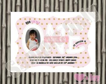 First Birthday Invite, First Birthday Invitation, Girl Birthday, 1st Birthday Invitation, Photo Invite, Pink, Gold Polka Dots, PRINTABLE