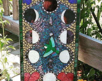 "Stained glass mixed media mosaic on wood ""huitzil"""