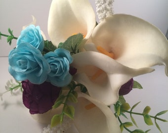 Ivory Calla Lily Toss bouquet, Cream Calla lily bouquet, Throw bouquets, Quinceaneras bouquet, Turquoise & Purple, Flowergirl Wand Bouquet