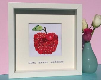 Personalised juicy red apple - Teacher thank you gift - handmade artwork - apple for the teacher