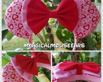 Ready to Ship: Magical Mouse Ears headband - Valentines Day hearts with doubke bow, puffy ears filled with silky fiber