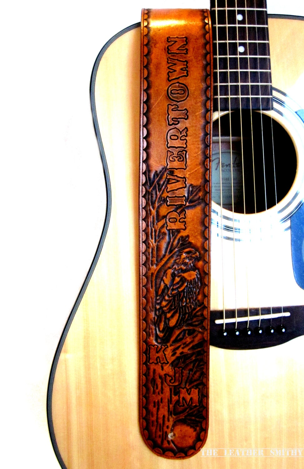 Eagle Guitar Strap Hand Tooled Leather Guitar Strap Leather
