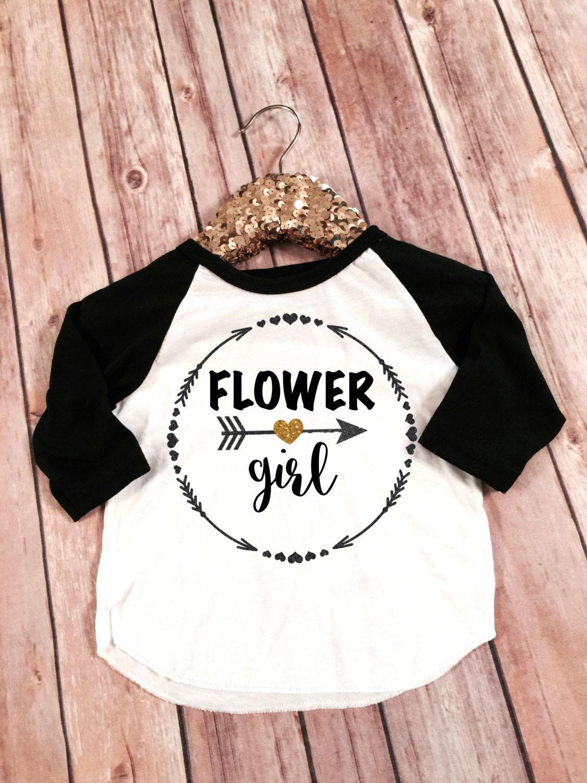 Flower Girl Raglan Tshirt Flower Girl Glitter Shirt Wedding