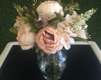 Pink Peony Centerpiece, Cream Peony Centerpiece, Blush Peony Centerpiece, Silk Peony Floral Arrangement, Peony Arrangement, Blush Peony Arra