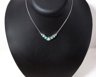 winter sales Vintage sterling silver necklace with zirgon-emeralds 4307
