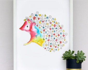Flower power hedgehog - print