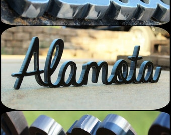 Custom Metal Sign: Thick Stand Alone Personalized Metal Name, Phrase, or Wording -Custom Initials Steel Decor- Steel Anniversary Gift