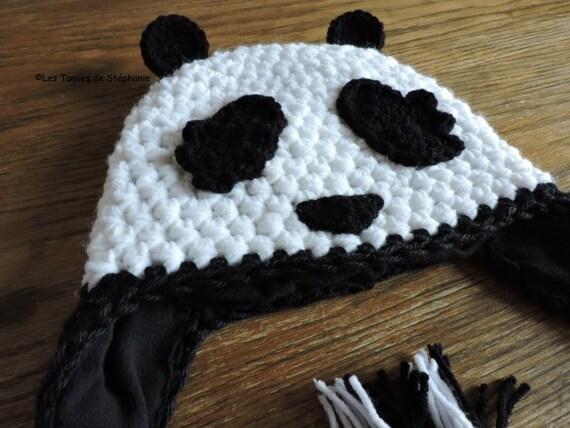 PATRON Tuque Panda au CROCHET, TUTO bonnet Panda, tuque animal au crochet,  Patron crochet bonnet