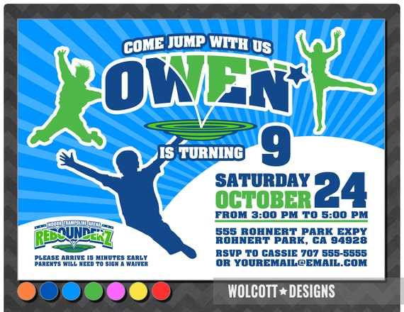 rebounderz waiver Trampoline party invitation , bounce house invitation , jump ...