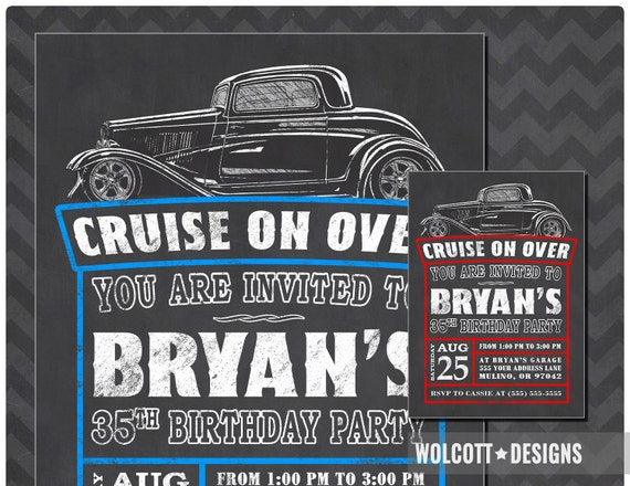 Hot Rod Birthday Invitation Vintage Car Invitations Chalkboard Style
