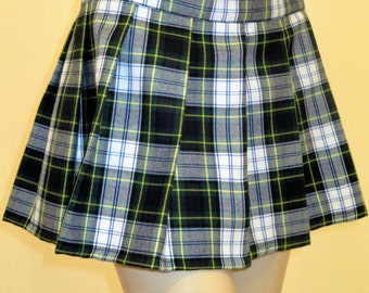 Gordon Dress Pleated Plaid Mini Skirt~Green White Yellow Black Plaid Skirt~School Girl Skirt~Small to Plus Size~ custom make@sohoskirts