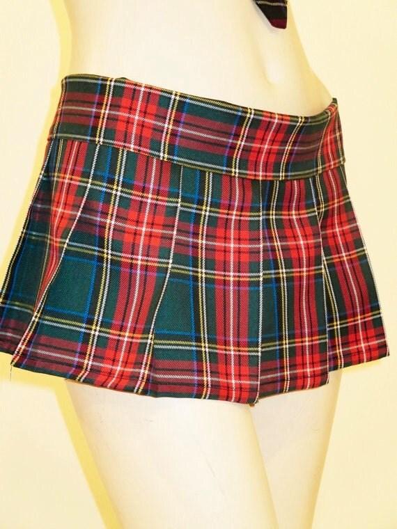 green plaid pleated mini skirt tartan plaid highland