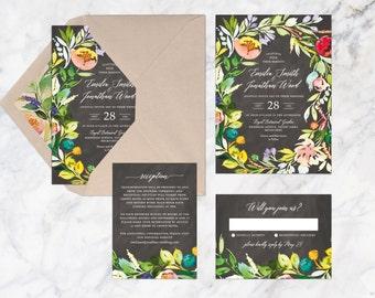 Printable Wedding Invitation Set, Flower Watercolor Blackboard Wedding Invitation, Summer Spring Autumn Wedding