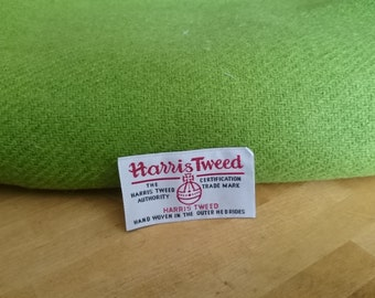 Luxury Handwoven Harris Tweed Cloth Lime Green 100% Pure Virgin Wool handwoven in Outer Hebrides Scotland