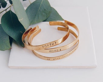 Gold Cuff, Customized and Hand Stamped