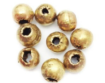 9 brass beads, Africa, 8mm, 9 piece, spacer, metal beads, metal balls, large hole beads round, metal beads, brass beads