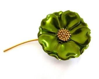 Vintage Green Enamel Pin Gold Tone Flower Power Brooch