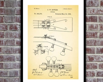 19th Century Guitar Patent, 19th Century Guitar Poster, Guitar Blueprint, Guitar Print, Guitar Art, Guitar Decor