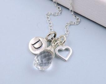 April Birthstone Necklace, Quartz Necklace, Personalized Birthstone Jewelry, Rock Crystal Necklace, April Birthday, Quartz Jewelry, Crystal