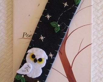 Christmas Gift - Owl Bookmark - Snowy owl - Felt bookmark - Gift for readers - Gift under 10