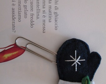 Winter staple: Blue glove with leaves and silver bead-gift for readers-Planner accessories