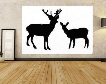 Deer, Animal Art, Deer Art, Deer Painting, canvas, Black and White Art, Woodland Deers, Animal Art, Nature Art, Modern contemporary Decor