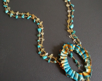 """Turquoise necklace citrine necklace turquoise-collection """"Spring"""""""