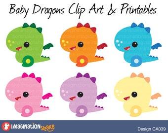 Baby Dragons Clip Art & Printables Set CA039 / Dragons Clipart / Dragon Wall Decorations / Dragon Birthday Printables / Dragon Clipart
