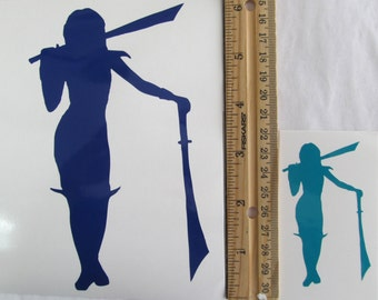 Vinyl Gamer RPG Car Window Decal Sticker Female Rogue Warrior Paladin Two Swords Silhouette Role Playing Game Gaming D&D Dungeons Dragons