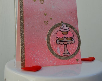 Handmade Happy Birthday Card, Have A Sweet Birthday, Watercolor Birthday Card, Pink And Gold Birthday Card