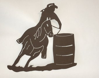 Western Themed Barrel Racer Metal Art