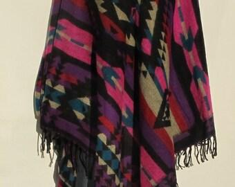Poncho Tassels Fringe Boho Bohemian 60s Designer Style Hippie Handmade Himalayan Handloomed Yak Wool Blend Shawl Multicolored 1 Size 9569