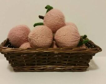Knitted Peach | Play Food Peach | Hand Knit Fruit | Plush Peach | Peach Toy