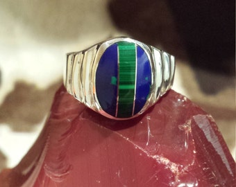 Sterling silver vintage native American inlaid lapiz and azurite ring